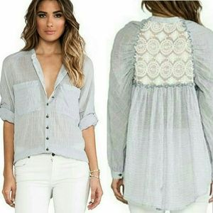 Free People Put Your Back Into It Flowy Button Top